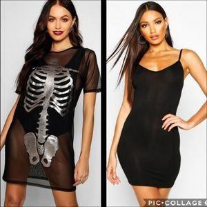 Dresses & Skirts - Halloween Mesh Skeleton Print Dress with Slip